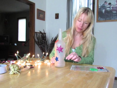 How to Frost a Lighted Bottle **Inexpensive Holiday Decorations**