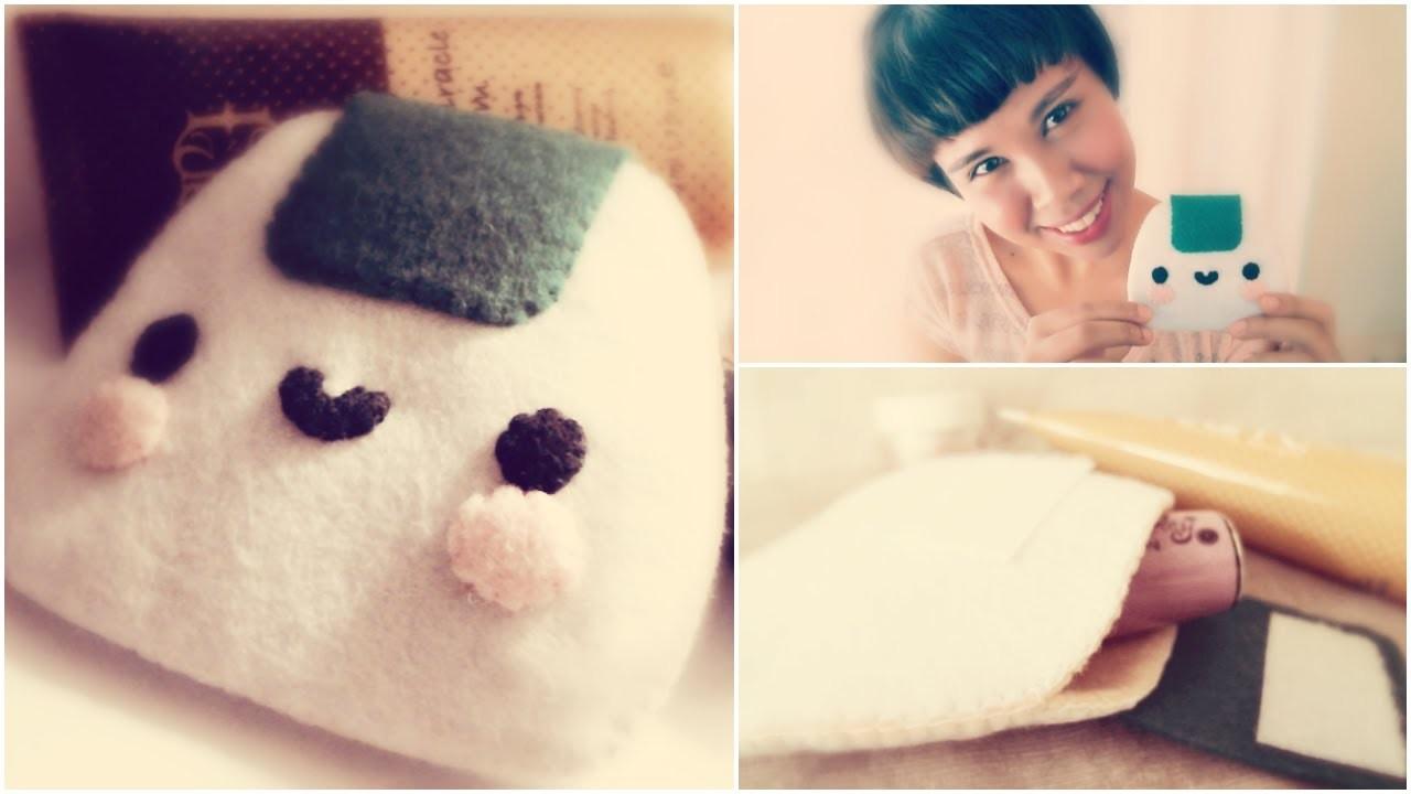 How To Make A Kawaii Onigiri Make Up Pouch From Felt Tutorial