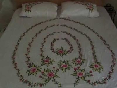 Roses Painting on a Bedsheet