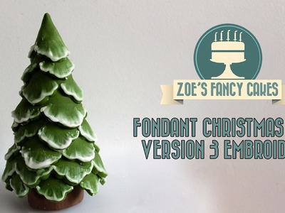 Brush embroidery christmas tree cake topper snow using fondant, How To Cake Decorating Tutorial