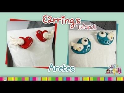 Earrings Polymer Clay tutorial. Aretes de arcilla polimérica
