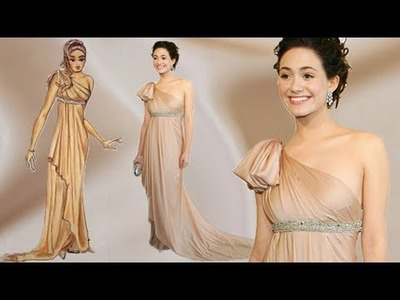 Emmy Rossum Silk Dress in Tan Greek Style: Advanced Fashion Design Drawing Tutorial