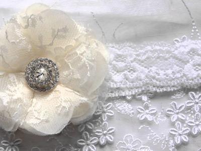 Handmade headbands. Chiffon flower headbands. Rolled rosette vintage inspired headbands