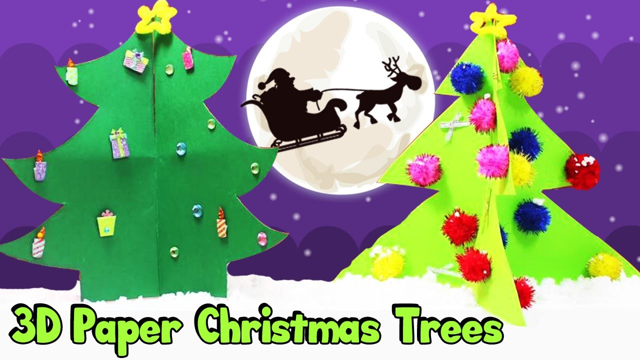 How to Make Easy 3D Paper Christmas Trees For Kids