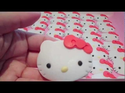 How to Make Hello Kitty Cupcake Toppers (1) Face Details & Bow