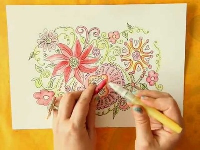 * HowTo: Coloring Doodles with Neocolor II Watersoluble Wax Pastels *