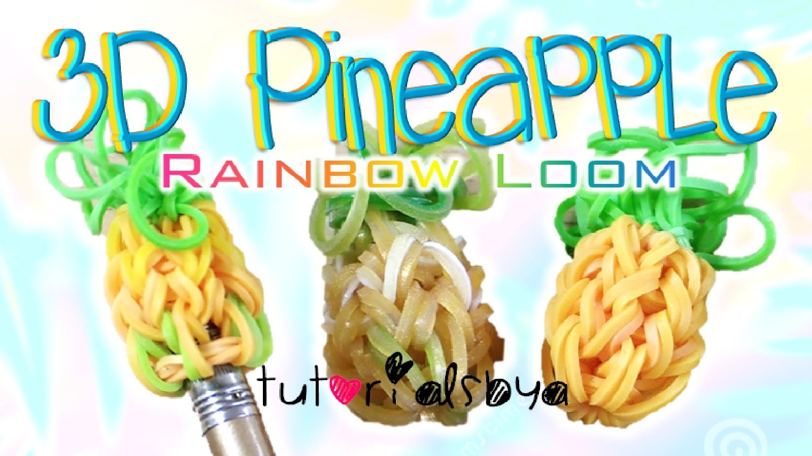 NEW 3D Pineapple Pencil Topper. Charm Rainbow Loom Tutorial | How To
