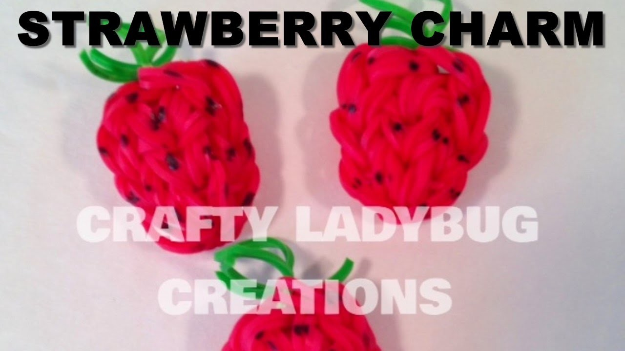 Rainbow Loom Bands STRAWBERRY CHARM How to Make Tutorial by Crafty Ladybug