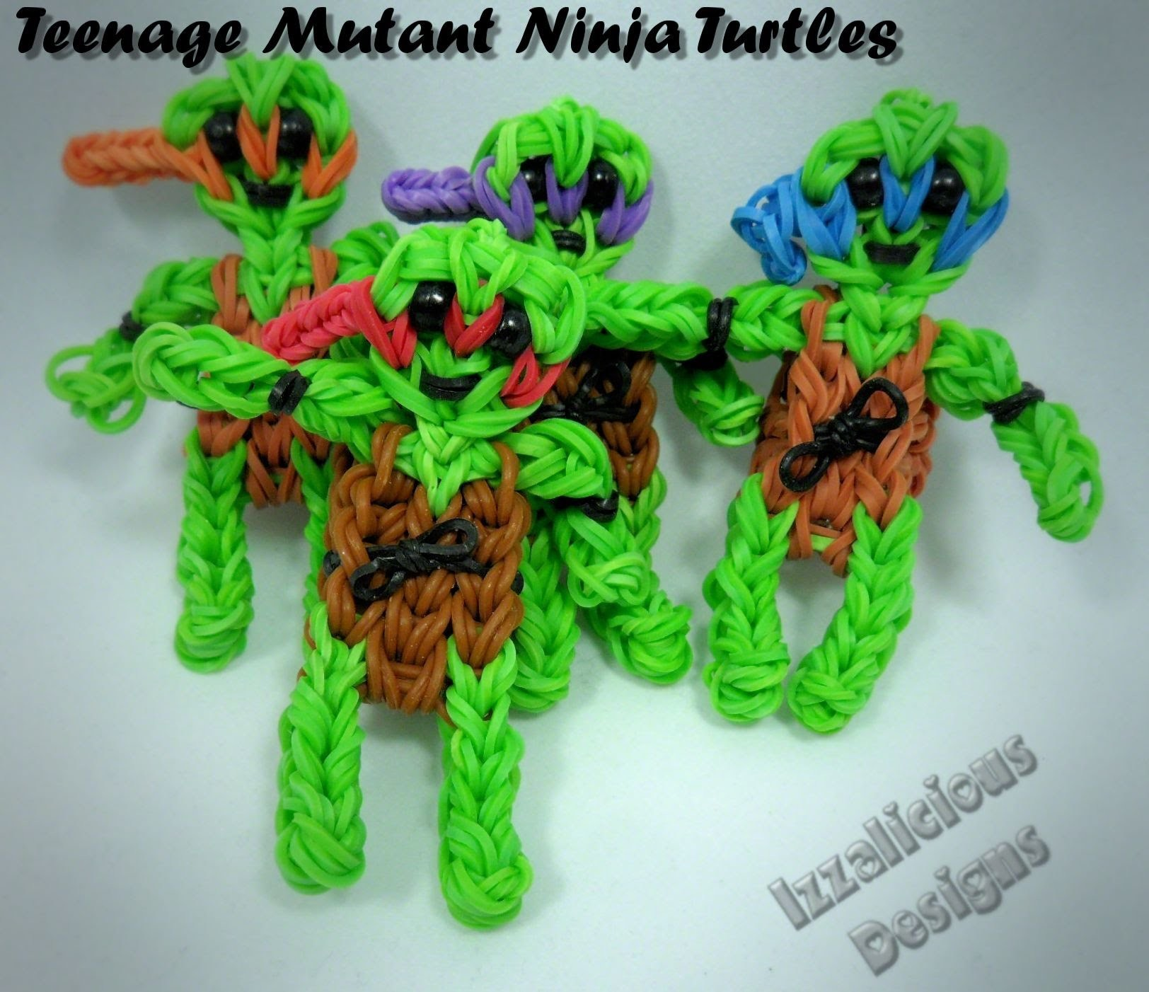Rainbow Loom Teenage Mutant Ninja Turtles Action Figure.Charm Tutorial
