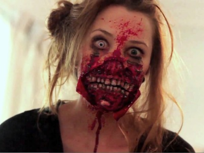 Ripped Mouth Zombie Makeup Application