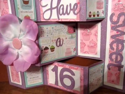 SWEET 16TH bIRTHDAY CARD SHUTTER CARD USING BIRTHDAY CAKES CRICUT CARTRIDGE