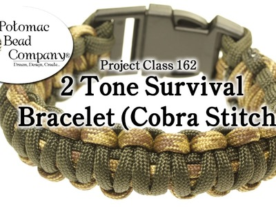 2 Color Paracord Survival Bracelet (Cobra Stitch)