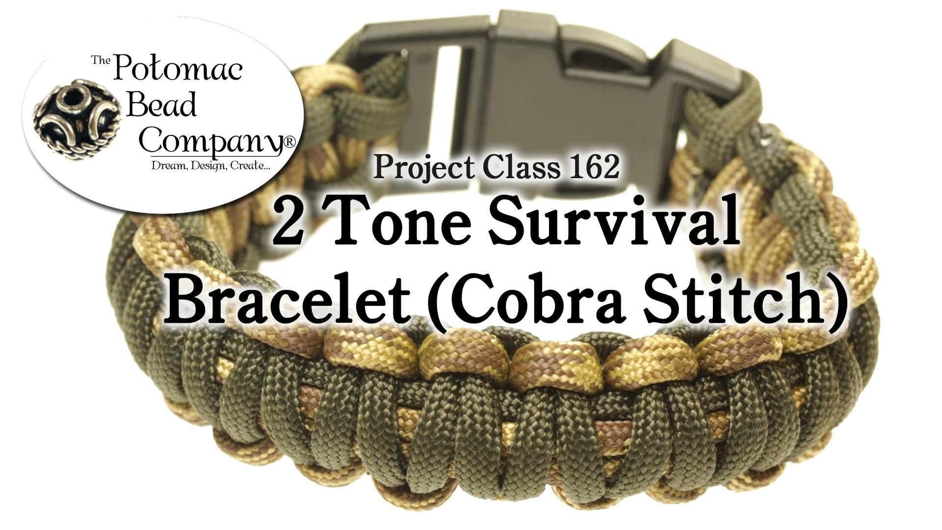 2 Color Paracord Survival Bracelet (Cobra Stitch)