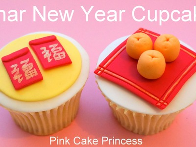 Chinese New Year Cupcakes - Miniature Red Envelopes & Oranges How to by Pink Cake Princess