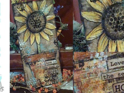 How to make a Mixed Media Sunflower Collage Canvas - Free Mixed Media Class