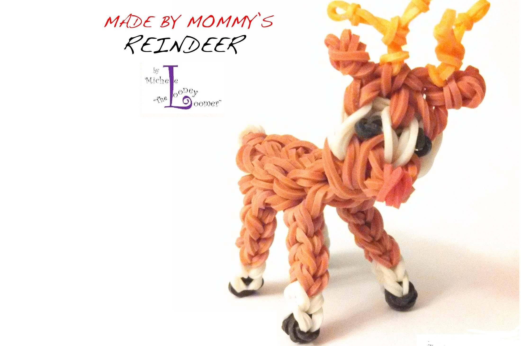 Rainbow Loom Reindeer Charm - Designed by Michele the Looney Loomer