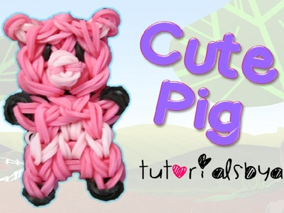 Cute Pig Charm.Mini Figurine Rainbow Loom Tutorial