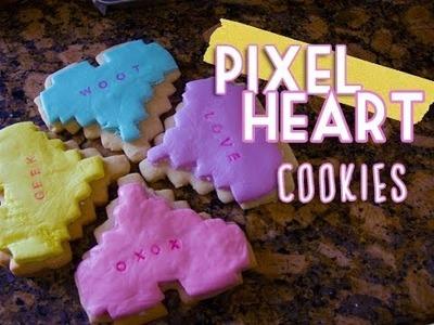 Pixel Heart Cookies : Valentine's Day Gift