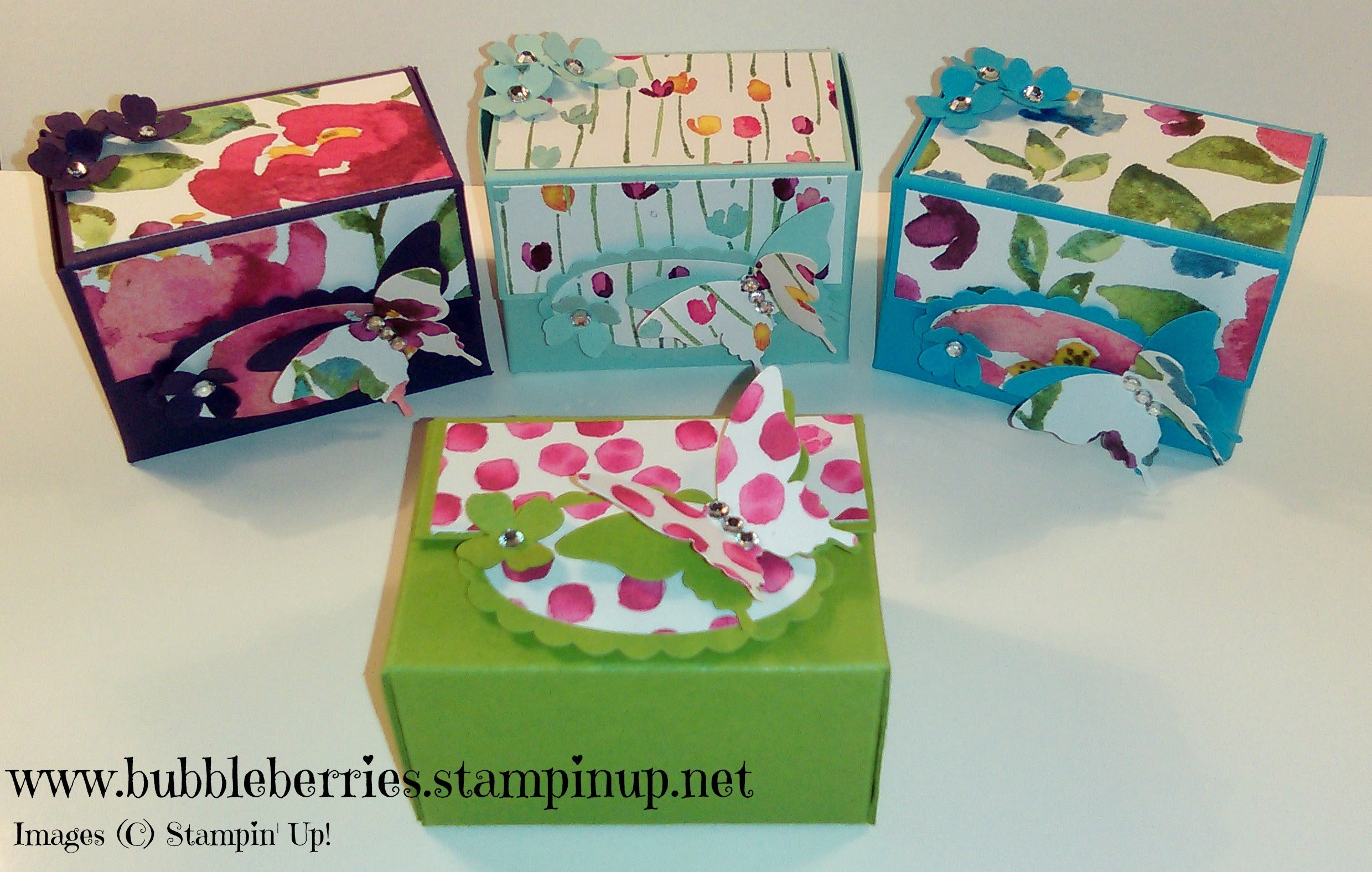 Stampin' Up! - Painted Blooms and Butterfly Gift.Treat Box