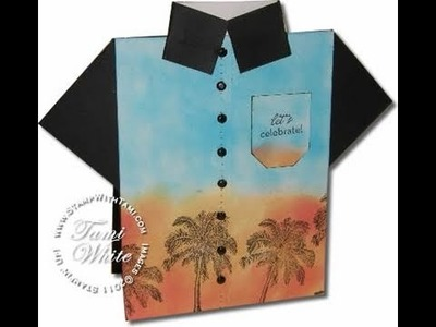 """""""Tommy Bahama"""" Tropical shirt card featuring Stampin' Up products"""