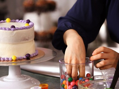 How to Decorate Birthday Cake w. Candy | Cake Decorating