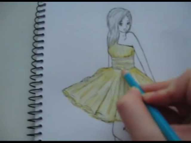 how to draw a girl in a long dress