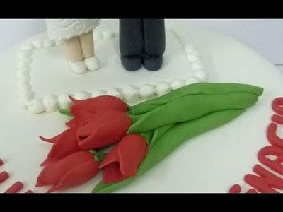 How to make fondant flowers. Red fondant tulip