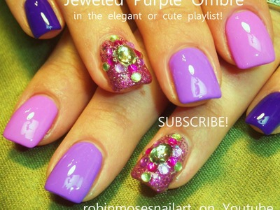 Ombre Nail Art with Bling