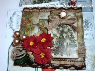 Vintage Christmas Easel Card with Pocket and Tag using Tsunami Rose Designs Christmas Gift