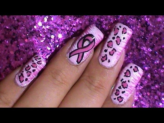 Breast Cancer Awareness Pink Ribbon Nail Art Design Tutorial ~ How to use a fan brush