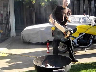 Firing up a charcoal BBQ with liquid oxygen
