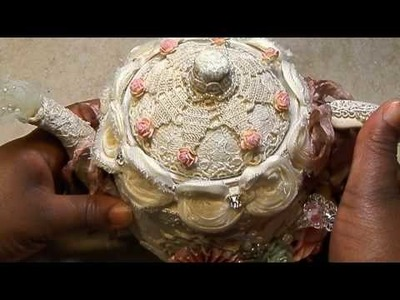 Altered Shabby Tea Pot.Cupcake Stand (Beautyisvirtue)
