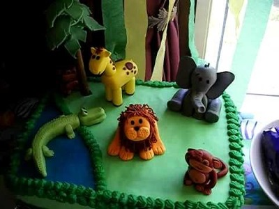 First fondant jungle animal birthday cake