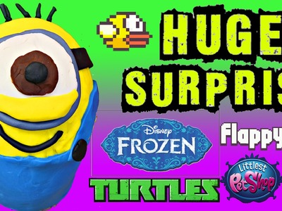 GIANT Play Doh Surprise Egg Minions ✪ Frozen, Blind Bags, TMNT, Big Hero 6 DisneyCarToys
