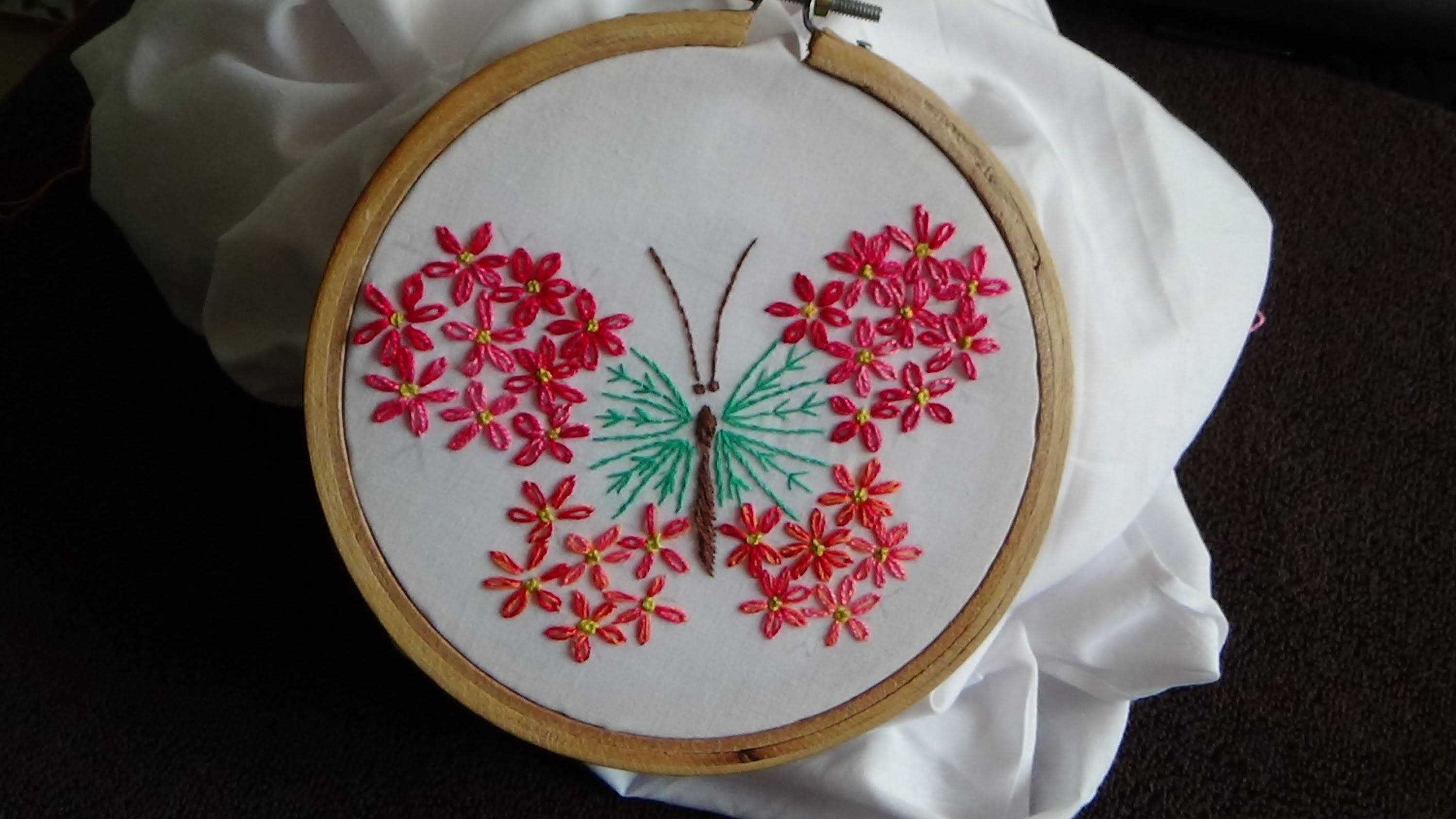 Hand Embroidery: Embroided Butterfly (ft Lazy Daisy)