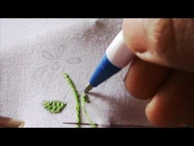 Hand embroidery:  Filling leaf with herringbone stitch