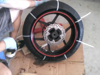 Motorcycle Tire Removal from Rim - Zip Tie Method- 2007 ZX6R - HOW TO. TUTORIAL