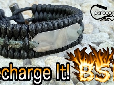 BSB fire bracelet recharge; not how to make paracord bracelet (Cobra Weave) or Solomon Bar