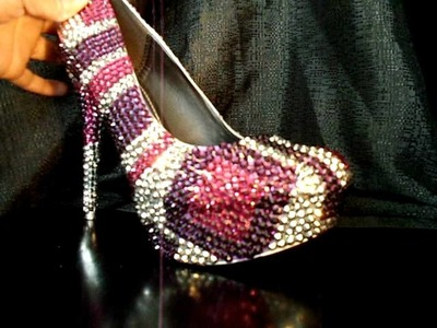 Crystal Square shoe in Pink, Silver and Purple