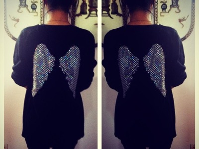 D.I.Y Angel Wing Design on the back of an old Sweater.Tshirt