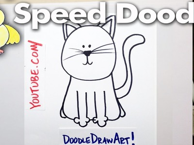 How to Draw a Cartoon Cat - Speed Doodle- Easy!