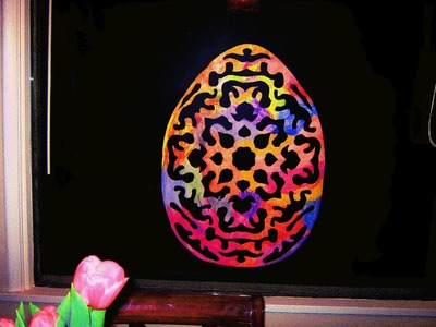 How to make a large paper stained glass Easter egg window decoration