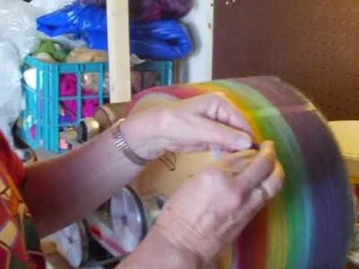 Carding and Pulling off the multi colored roving 1B