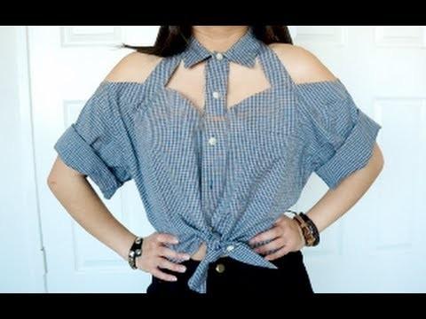 DIY Cut-Out Collar Shirt