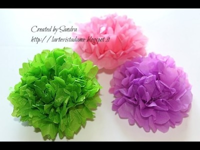 Pom pom carta velina tutorial - How to make tissue paper pom pom - Wedding.party decoration