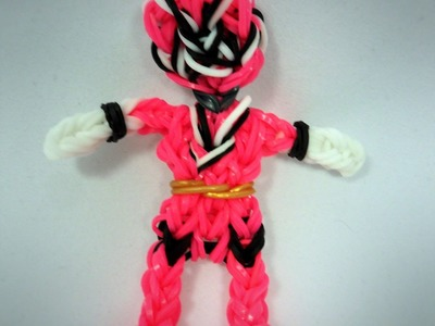 Rainbow Loom Pink Power Ranger Action Figure.Charm Tutorial