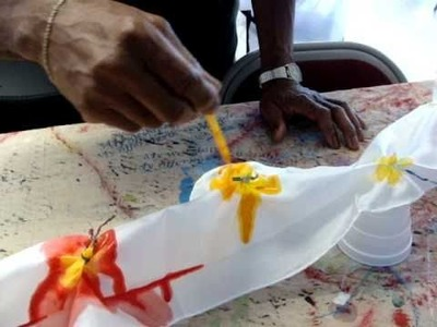 Silk painting day at Raised Praise bannerflags for Worship www.raisedpraise.com