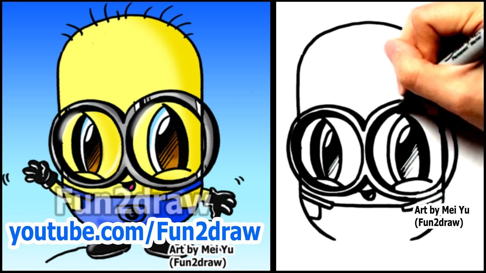How to Draw a Minion from Despicable Me - Fun2draw style (Easy Characters)