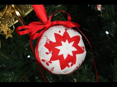 Quilted Christmas Ornament - No Sew Christmas Decoration. Bauble