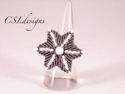 Micro macrame flower ring